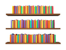 Colorful Books On Bookshelf Isolated On White Background Royalty Free Stock Images