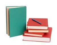 Colorful books and pen Royalty Free Stock Images
