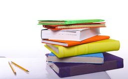 Colorful books and pencils Royalty Free Stock Photography
