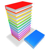 Colorful Books Pile. 3d renderinf of a colorful pile of books isolated on white background Stock Image
