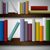 Colorful books on the shelves template Stock Photo