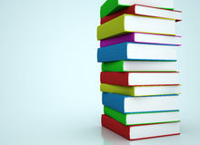 Colorful books stacked. Multi colored books stacked 3d render illustration Stock Images