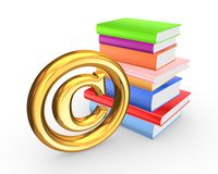 Colorful books and symbol of copyright. Royalty Free Stock Images