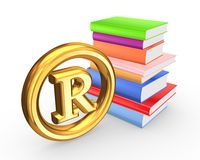 Colorful books and symbol of copyright. Stock Images