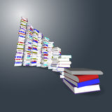 Colorful books tower and stair Royalty Free Stock Image