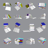 Colorful books tower and stair. Vector, 3ds colorful books ain many view Stock Image