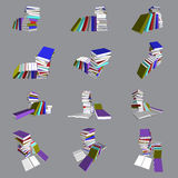 Colorful books tower and stair. Vector, 3ds colorful books ain many view Royalty Free Stock Photo