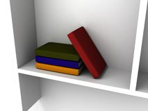 Colorful books on a white shelf Royalty Free Stock Photos