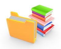 Colorful books and yellow folder. Isolated on white.3d rendered Royalty Free Stock Photo