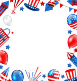 Colorful Border for American Holiday, Traditional Symbols, Objects, Icons Stock Photo