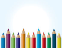 Colorful Border Background of Colored Pencils Stock Photography