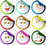 Colorful border emoticon stickers Royalty Free Stock Image