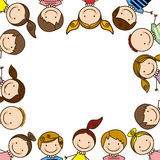 colorful border with half body group cartoon children Royalty Free Stock Images