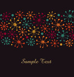 Colorful border with snowflakes. Decorative floral ribbon Royalty Free Stock Photography
