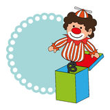 Colorful border wit clown in cube toy Stock Image