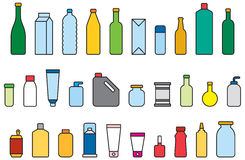 Colorful bottle illustrations. A set of colourful illustrations of bottles and containers in line art style Stock Photos