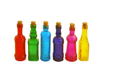 Colorful Bottles. Bright colorful bottles lined up in a row Stock Photo
