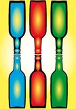 Colorful Bottles. An illustration of colorful bottles on a reflective surface stock illustration