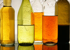 Colorful bottles with alcohol Stock Photos