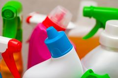 Colorful cleaning products in the bathroom royalty free stock image