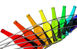 The colorful bottles. 3d generated picture of a row of colorful bottles vector illustration
