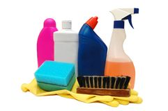 Colorful bottles of dish washing liquid Royalty Free Stock Photography