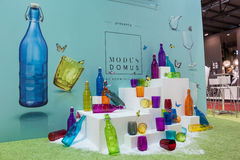 Colorful bottles and glasses at Macef home show in Milan Royalty Free Stock Photos