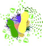 Colorful bottles illustration isolated. Image representing two bottles on an abstract colorful background made with drops and lemon slices. A nice idea for all stock illustration