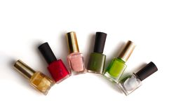 Colorful bottles of nail polish Royalty Free Stock Images