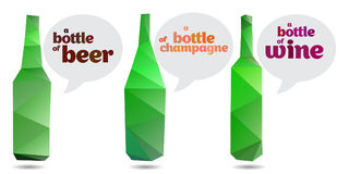 Colorful bottles in origami style vector art. The elements for design, bottles with bubble Royalty Free Stock Photos