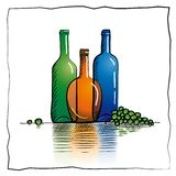 Colorful bottles sketch Stock Images