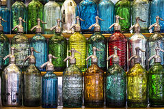 Colorful bottles. Soda Bottles in the San Telmo Market in Buenos Aires Royalty Free Stock Photos