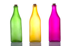 Colorful Bottles on White Stock Photo