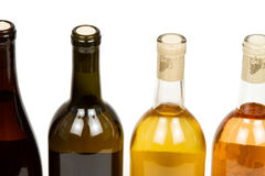 Colorful Bottles of Wine. On White Background royalty free stock images