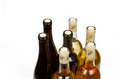 Colorful Bottles of Wine with White Background Royalty Free Stock Photo