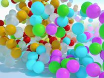 Colorful bouncing balls outdoors against blue sunny sky. Lots of colorful bouncing balls outdoors against blue sunny sky with chaotic motion - perfect party royalty free stock photos