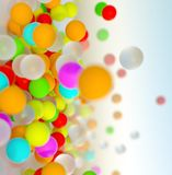 Colorful bouncing balls outdoors against blue sunny sky. Lots of colorful bouncing balls outdoors against blue sunny sky with chaotic motion - perfect party stock photos