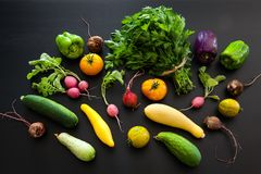 A colorful bounty of freshly picked summer produce on a black background stock photography