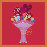 Colorful bouquet of candies. And lollipops in the beautiful wrapping Royalty Free Stock Photos