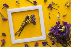 Colorful bouquet of dried autumn flowers lying on a white frame on yellow paper background. Copy space. Flat lay. Top view. Greeting card. Flowers composition royalty free stock image