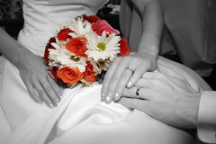 Colorful bouquet of flowers against black & white. Stock Photography