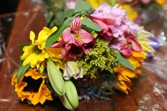 The colorful bouquet of flowers brightens the day. stock photo