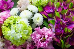 Colorful bouquet of flowers close up floral background. Colorful bouquet of flowers close up stock photo
