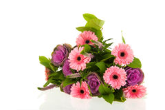 Colorful bouquet flowers. Colorful bouquet Gerber flowers and decoration cabbage Stock Photography