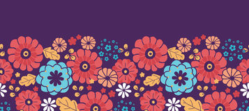 Colorful bouquet flowers horizontal seamless Stock Photos