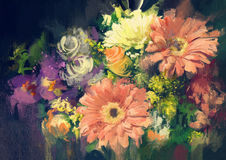 Colorful bouquet flowers. Bouquet flowers in oil painting style,illustration Stock Images