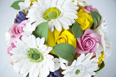 Colorful bouquet of flowers on a white Royalty Free Stock Photo