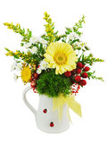 Colorful bouquet from gerberas in vase isolated on white backgro Royalty Free Stock Images
