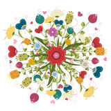 Colorful bouquet  made of illustrated flowers Stock Image