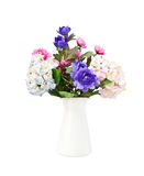 Colorful bouquet pink and blue flowers, isolated Stock Photos